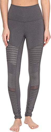 ALO Women's High Waisted Moto Leggings Stormy Heather/Stormy Heather Glossy Pants by ALO Sport