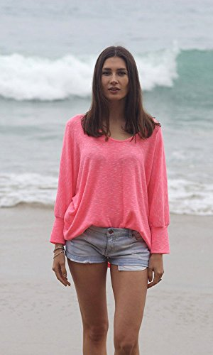 Bright Coral Pink Scoop Neck Kimono Sweater Top, Layering Loose Knit Beach Sweater, Ocean Sweater, Watercolor Top. Size M-XL by Kimonology
