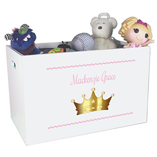 Personalized Princess Crown Childrens Nursery White Open Toy Box Personalized Toy Bin