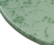 Miles Kimball Floral Swirl Vinyl Elasticized Table Cover, 45 - 56 Inch Dia Round, Green