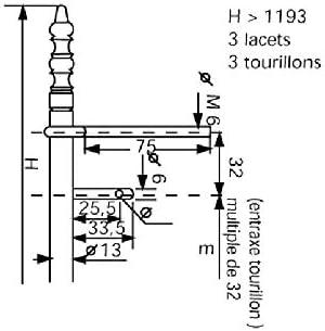 Entraxe lacets : 416 Hauteur : 548 mm Fiche /à lacets fer /Ø13 vieux laiton /à tourillons DUBOIS Entraxe goujon : 352
