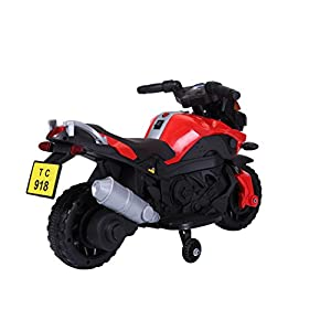 Kids Ride On 6V Electric Powered Motorcycle Bike Toy with Training Wheels with AUX Plug, Red