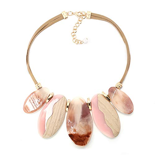 FAMARINE Vintage Tribe Chunky Collar Necklace, Geometry Acrylic Pendant Bib Statment Necklace Costume Jewelry - Acrylic Turquoise Pendant