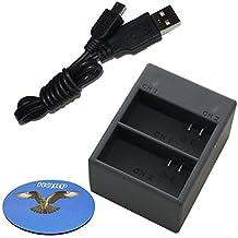 HQRP Dual Battery USB Charger for GoPro HD Hero3 / Hero3+ / CHDHN-301 / CHDHX-301 Camera, AHDBT-201, AHDBT-301, 1ICP7/26/33-2, 601-00724-00A Batteries + HQRP Coaster
