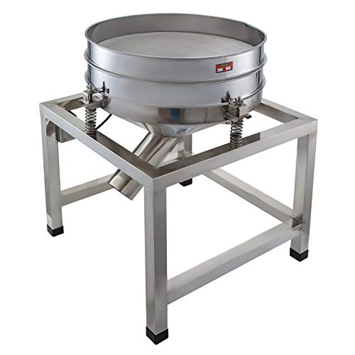 Automatic Powder - Happibuy Automatic Powder Sifter Shaker Machine 110V 300W Flour Sieve Machine Stainless Steel 2 Screens Industrial (Silver)