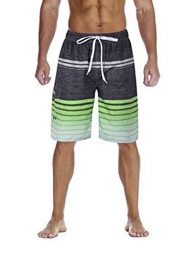 Nonwe Men's Bathing Suits Quick Dry Striped Water Sport Surf Shorts Drawsting Green ()