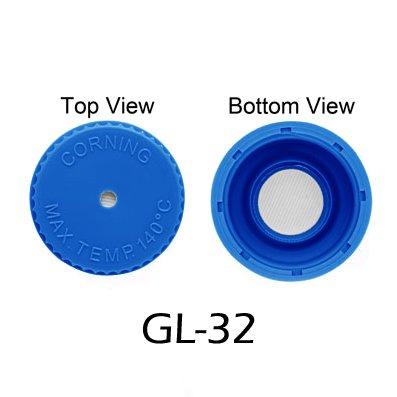 Vented Cap, GL-32, Blue, Autoclavable Polypropylene, Pack/5