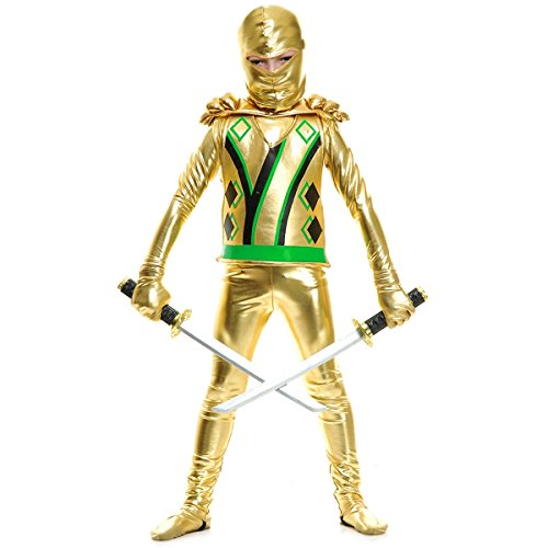 Charades Child Golden Ninja Series III Costume Jumpsuit, Gold, Large
