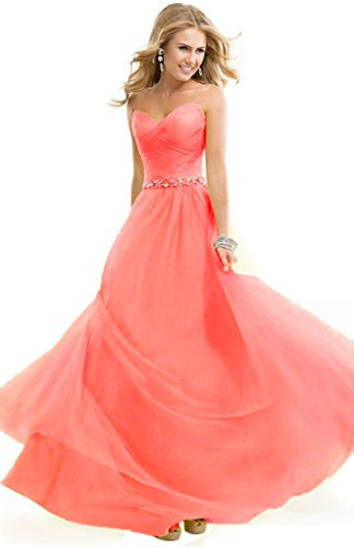 Bridesmaid Long Pleated Gowns Aurora Coral Bridal Bead 2016 Evening Dresses Sweetheart qpSE4