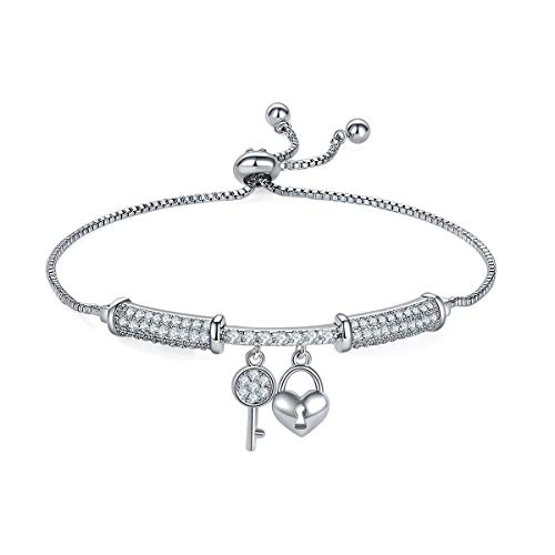 MILATU Key Lock Chain Bracelet 3A Cubic Zirconia Paved,Platinum-Plated Length Adjustable Charm Bracelet,Jewelry Gifts for Women Girls
