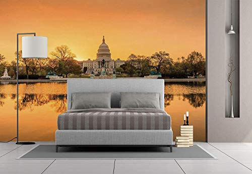Funky Wall Mural Sticker [ United States,Washington DC American Capital City White House above the Lake Landscape,Apricot Ginger ] Self-adhesive Vinyl Wallpaper / Removable Modern Decorating Wall Art]()