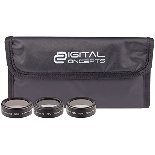 Vivitar Digital Concepts Filter Kit for DJI Phantom 4 Pro Drone, Includes CPL Filter, ND4 & ND8 Filter by Vivitar