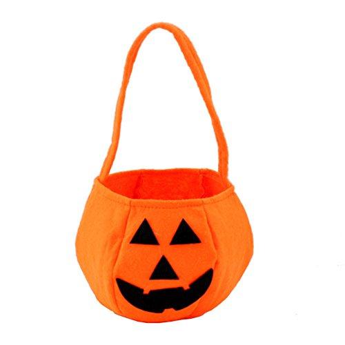 2 Pcs Pumkin Bag Halloween Storage Bag Treat Non-Woven Fabric Handheld Bags Halloween Costumes Handbag Halloween Party Bag for Children ()