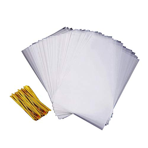 Cello Treat Bag 200 PCS Cellophane Goody Bags Party Favor Bag Clear Candy Bags Metallic with Twist Ties for Gift Bakery Cookies Dessert (5 x 7 INCH)