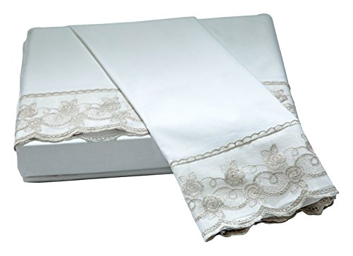 Belle Epoque Traditional Capri LACE Floral Sheet Set, Queen, White/Taupe