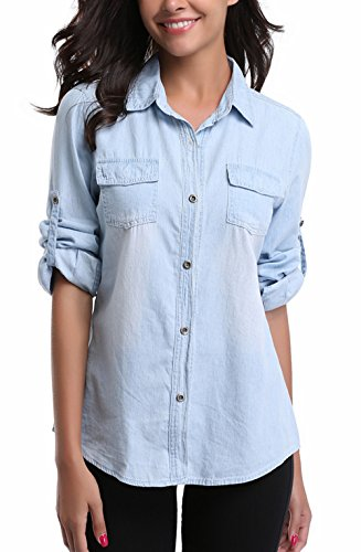 MISS MOLY Women's Washed Rolled Long Sleeve Point Collar Denim Shirt w 2 Chest Flap Packets,L Collar Denim Shirt
