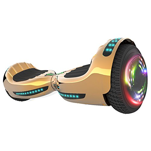 Hoverboard UL 2272 Certified Flash Wheel 6.5' Bluetooth Speaker with LED Light Self Balancing Wheel Electric Scooter (Chrome Gold)