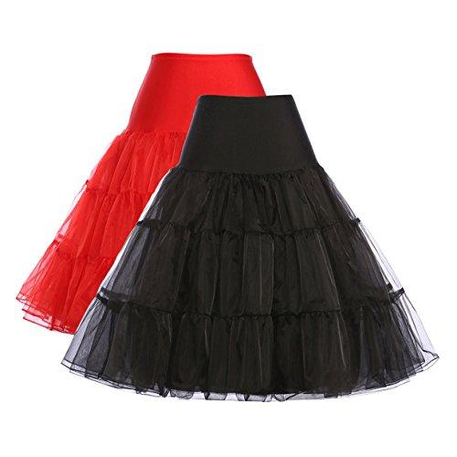 GRACE KARIN Net Underskirts for Pinup Swing Dresses (M, Black + Red, 2 Pack)