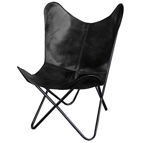 Natural Leather Butterfly Chair in Black (Black) (Leather Sling Butterfly Chair)