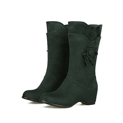 AgooLar Women's Mid-top Solid Pull-on Round Closed Toe Kitten-Heels Boots Green 0w7MY35L