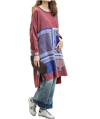 Women's Linen Caftan Ethnic Evening Dress (Red) - 1