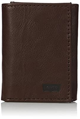 Levi's Men's Genuine Leather Trifold - Big Skinny Wallet with RFID Security for Credit Cards with 2 ID Windows,Brown Trifold Wallet