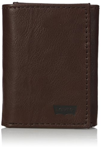 (Levi's Men's Genuine Leather Trifold - Big Skinny Wallet with RFID Security for Credit Cards with 2 ID Windows,Brown Trifold Wallet)