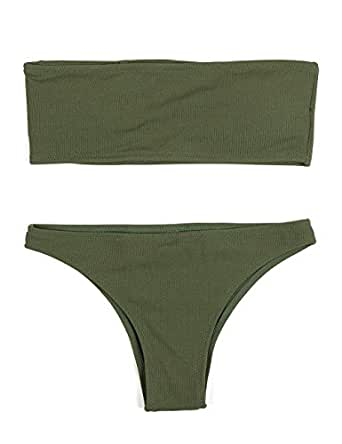 HAHASOLE Womens Ribbed Bandeau 2 Way Wear Two Pieces Bikini Set Sexy Strapless Swimsuit (Army Green, S)