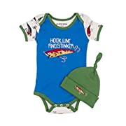 Little Blue House by Hatley Baby Boys' Bodysuit and Cap, Fishing Lures, 6-12 Months