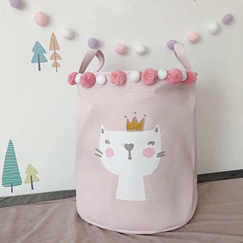 ASCEN Laundry Hampers, Baskets with Handles for Kid's Boy or Girl's Room, Baby Nursery, Toy Storage Basket and Organizer Bins for Children (Pink cat) (Laundry Hamper Cat)
