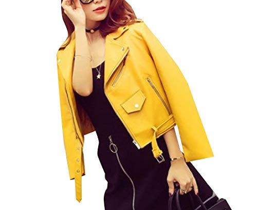 Mogogo Zipper Biker Closure Outwear Women's Yellow Trench Jacket Coat PU Mini OW4POrq