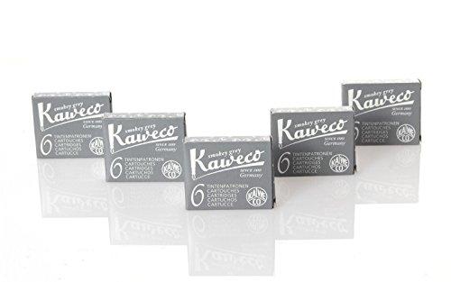 Kaweco Fountain Pen Ink Cartridges short, Smokey Grey (Grey), 30 pc.