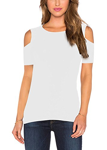 Mippo Women's Sexy Cold Shoulder Tops Scoop Neck Open Shoulders Sweaters T Shirts Soft Casual Short Sleeve Blouse Tops High Low Tee Party Tunic Tops White S