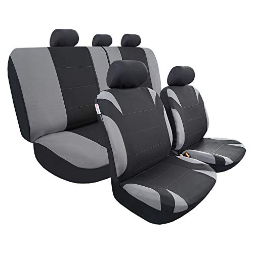 Full Coverage Car Seat Covers, Full Set Seat Covers of 5 Detachable Headrests and Solid Bench, Universal Auto Seat Protector Fit Most Car, Truck, SUV, or Van, Non Slip, Airbag & Split Ready,Black&Grey