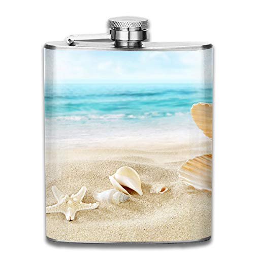 Laki-co Shell and Pearl Hip Flask for Liquor Stainless Steel Bottle Alcohol 7oz -