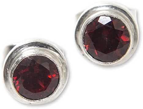 NOVICA Round Garnet and .925 Sterling Silver Stud Earrings, 'Red Simplicity' (.6 cttw)