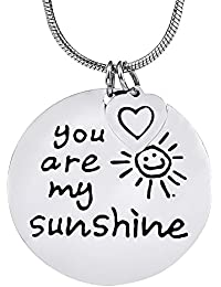 """Fashion Round Pendant Engraved """"You Are My Sunshine"""" (20"""" Adjustable Chain)"""