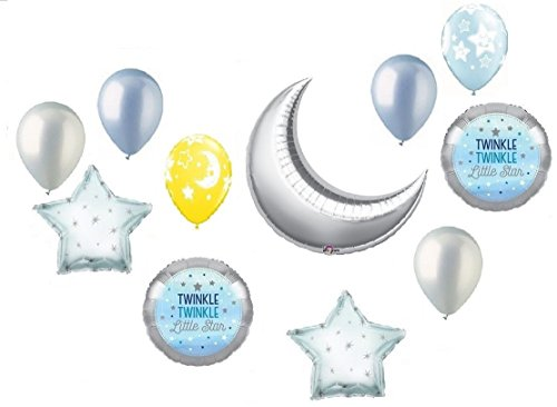 Twinkle Twinkle Little Star Crescent Moon Boy Baby Shower Balloon Bouquet Decorating Kit 11 Piece Mylar and Latex Balloons Set -Plus (1) 66' (66 Foot) Roll of Curling Balloon Ribbon (Crescent Bouquet)