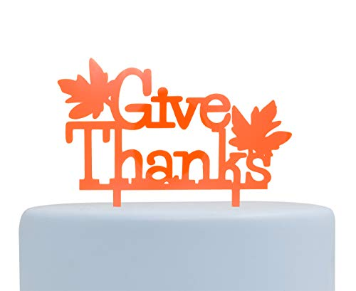 Fall Theme Give-thanks Cake Topper, Thanksgiving Cake Decor, Handcrafted Party Decor (Orange)