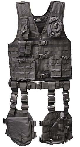Ultimate Arms Gear Tactical Assault Scenario Stealth Black MOLLE 10 Piece Ambidextrous Complete Kit Set Deluxe Modular Web Vest w/ Hydration Bladder Pocket + 2 Open-Top Double Mag Ammo Pouches + Pistol Mags + Cell Phone Radio Pouch + Adjustable Duty Belt + Medical Utility Pouch + Dropleg Pistol Ambi Holster + Multi Purpose Dump Drop Leg Platform Rig (Deluxe Tactical Duty Belt)