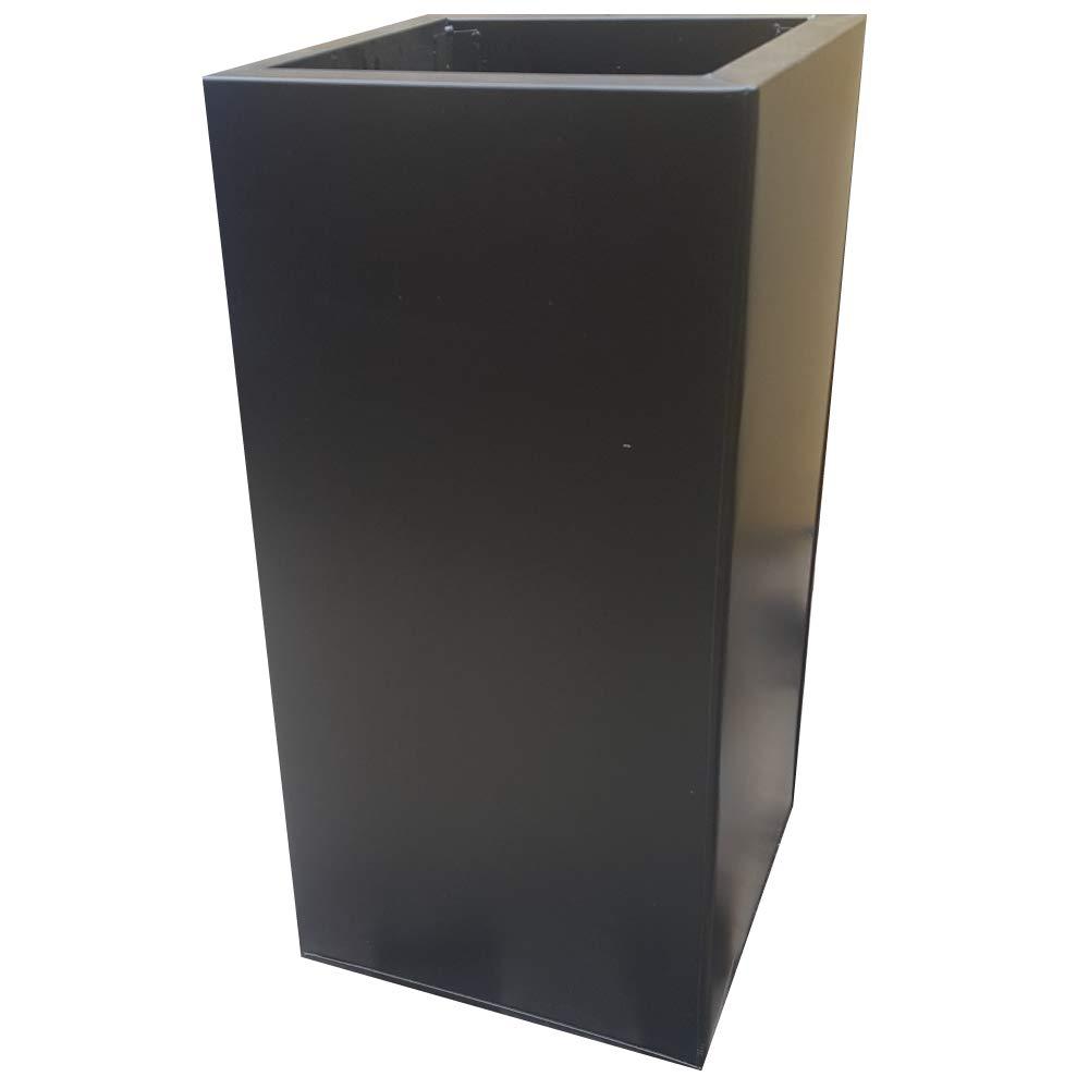 Floraselect Plain Tower Zinc Planter Powder Coat Black 30x30x60cm