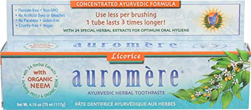 - Ayurvedic Herbal Toothpaste Licorice by Auromere - Fluoride-Free, Natural, with Neem and Vegan - 4.16 Ounce