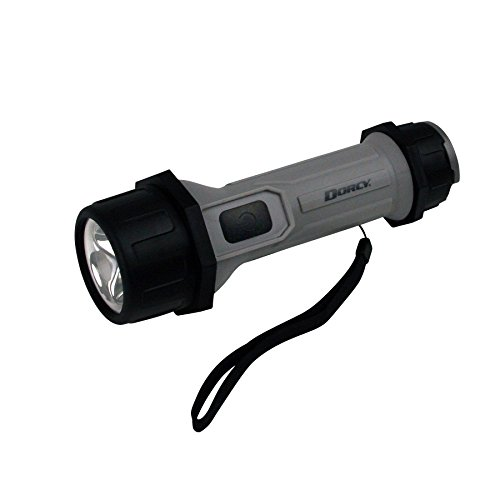 (Dorcy 80-Lumen 2D, LED Waterproof Flashlight with Shatterproof Lens and Anti-Roll Design, Gray)