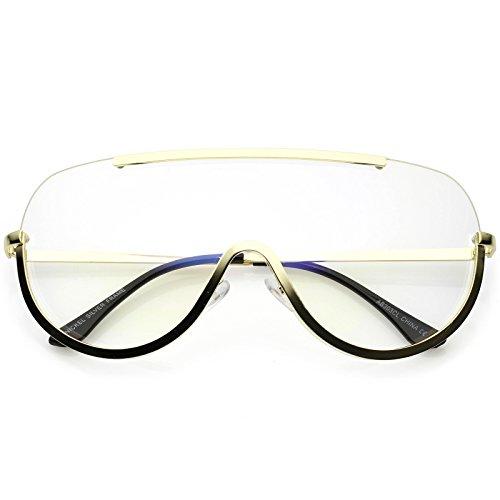 sunglassLA - Oversize Semi Rimless Shield Eyeglasses Metal Trim Clear Mono Lens 65mm (Gold/Clear) from sunglassLA