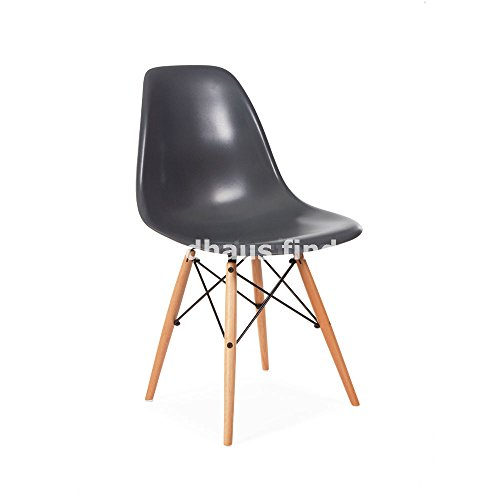 Mid Century Modern Eames Style DSW Gray Side Dining Chair with Dowel Base Satin Finish