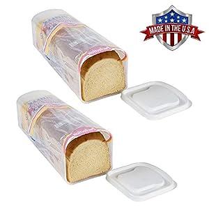 Bread Keeper Sandwich Bread Box Holder Dispenser Crush-Proof Kitchen and Travel Container – 2 Pack 41dAj6LqVQL
