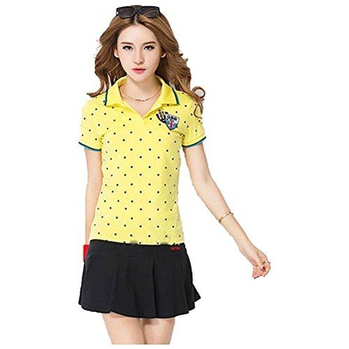 KEIMI(ケイミ) レディース ゴルフウェア 上下 セット ポロシャツ スカート カジュアル 水玉柄 可愛い スポーツウェア 全6色 (L, イエロー)