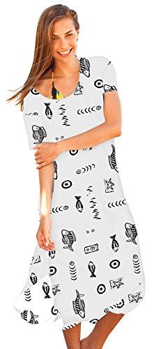 Ingear Beach Dress Long Cotton Tee Dress (2X, White)
