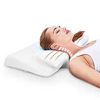 Contour Memory Foam Pillow Orthopedic Pillows for Neck Pain Ergonomic Pillow with RoHS Certification and Pillowcase Covers, White