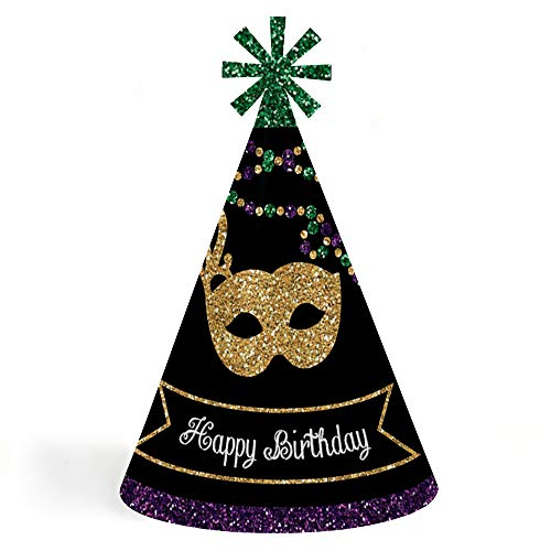 Mardi Gras - Cone Happy Birthday Party Hats for Kids and Adults - Set of 8 (Standard Size) ()